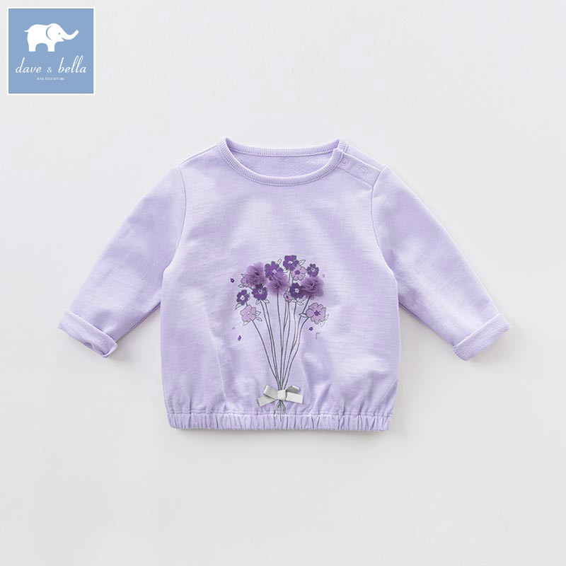DB7681 dave bella spring infant baby girls fashion floral t-shirt kids cotton lovely tops children high quality tee db5884 dave bella autumn infant baby girls fashion t shirt kids 100% cotton lovely tops children high quality tee
