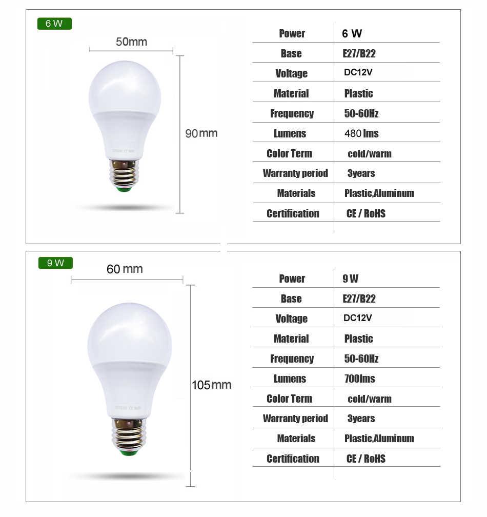 [Yoyoluo] Высокое качество светодиодный лампы E27 DC 12 V Светодиодный свет лампы 3 Вт, 6 Вт, 9 Вт, 12 Вт, 15 Вт высокой мощности Яркость лампада светодиодный фонарь для лагеря на открытом воздухе