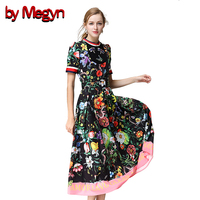 By Megyn 2017 New Fashion Women Short Sleeve O Neck Summer Casual Flowers Floral Printed Long