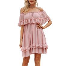 2019 New Yfashion Women Summer Off-shoulder Chiffon Lotus Leaf Elegant Charming Casual Dress Top Quality