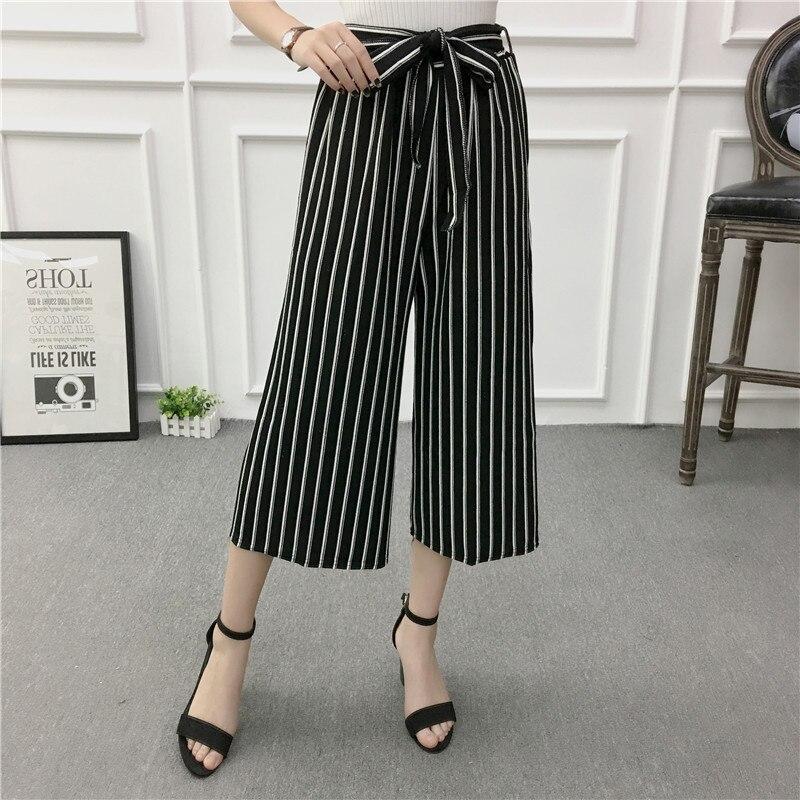 JL0109 2017 Summer Newest Style Leisure Pants Loose High Waist thin wide leg pants stripe Bow tie Bell Bottom Pant Women