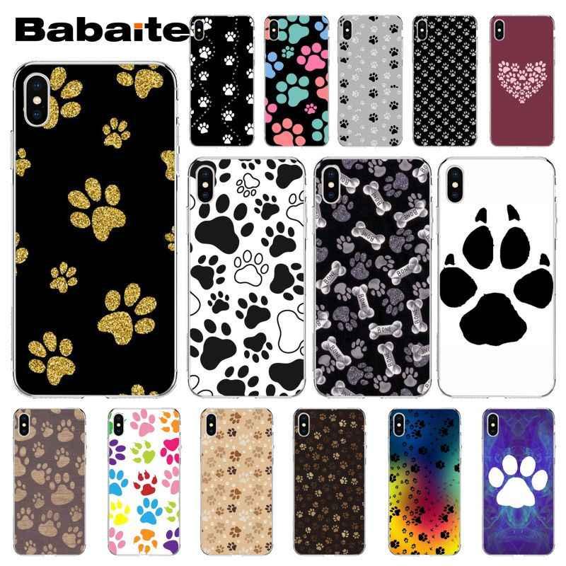 Babaite Cane Footprint Paw Modello Tpu Accessori Del Telefono Cassa Del Telefono Delle Cellule per Il Iphone di Apple 8 7 6 6S Plus X Xs Max 5 5S Se Xr Copertura