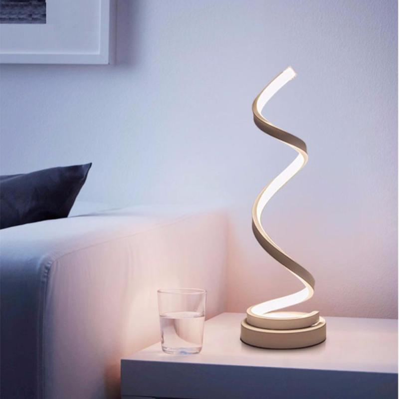 LED Table Lamp Spiral Modern Table Light Creative Design Acrylic Table Lamps Bedroom Beside Lamp Home Decor Lighting Fixture Z3 modern led table light creative design spiral acrylic art table lamps for bedroom bedside lamp decoration lighting fixture