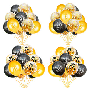 QIFU Happy Birthday Balloon Number Ballons 30 40 50 Birthday Party Decorations Adult 30th 40th 50th Birthday Decor Latex Baloon