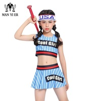Cool Girl letter print Children large size swimwear 2018 New Cute Short skirt striped Bikini High waist baby swimming suits