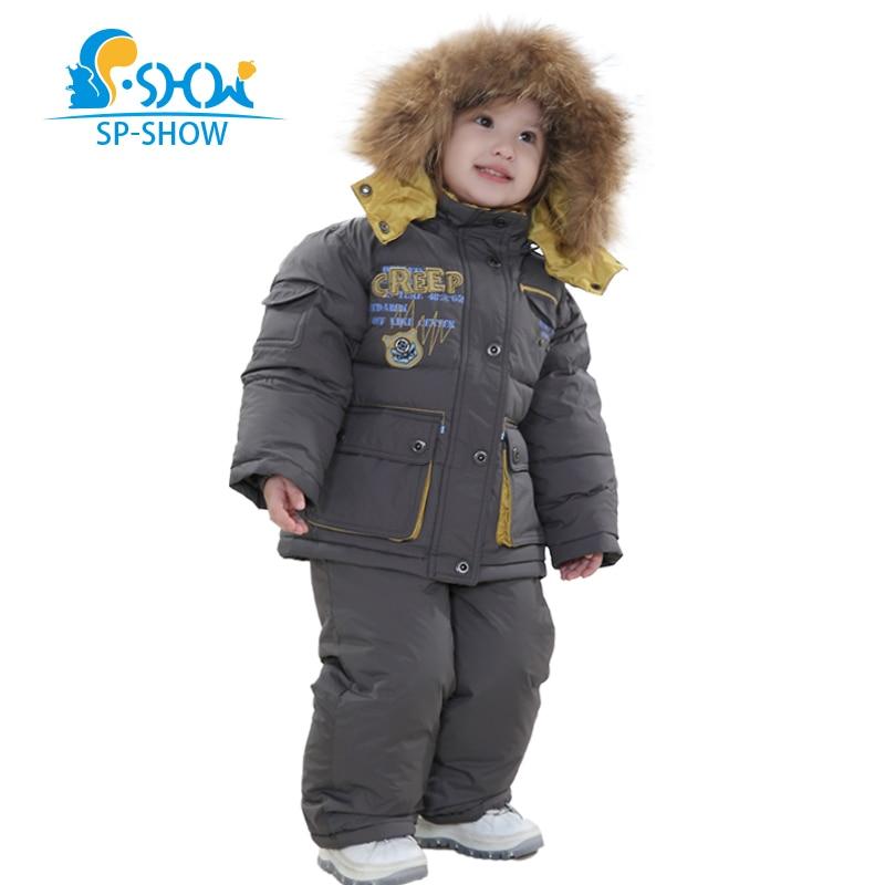 spshow Winter Luxury Brands Children Hat Raccoon Fur Down Jacket Children Boys And Girls Down Coat Fur Jacket+Pants Snowsuit