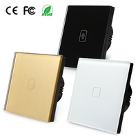 Latest EU Norm 1 Gang 1 Way 220V Touch Switch Toughened Glass Panel Wall Light Switch