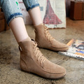 Hot Sale 2016 Fashion Women Boots New Winter Solid Women Ankle Boots Wild Lace-up Warm Casual Shoes Comfortable Flat Boot ANGT48