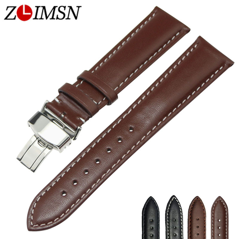 ZLIMSN Men s Watch Genuine Leather Watch band Butterfly Deployment Buckle Black Brown Watch Strap 18
