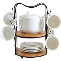 Nordic minimalist ceramic white teapot teacup set kitchen rack drain cup rack teacup coffee cup mug rack wx6281019