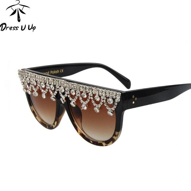 eab09a98efb8a DRESSUUP Diamant De Luxe lunettes de Soleil Femmes Marque Designer Vintage  Grand Cadre Femelle Shades Lunettes