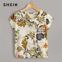 Shein tropical impressão boné manga boho estilo verão topo roupas femininas 2019 coreano em torno do pescoço das mulheres topos e blusas
