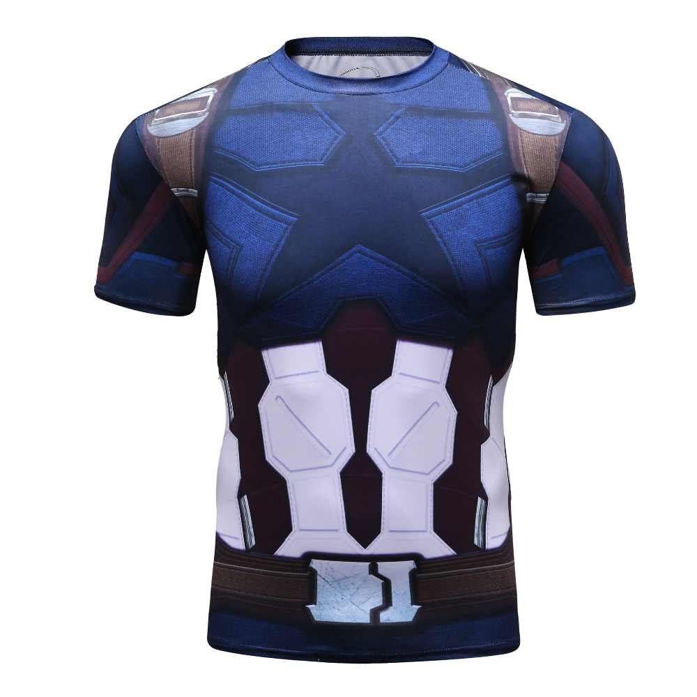 Bermain Peran Captain America T-shirt Pria Olahraga T Shirts Gym MMA Lengan Pendek Slim Kompresi Superhero Run Pelatihan Tops