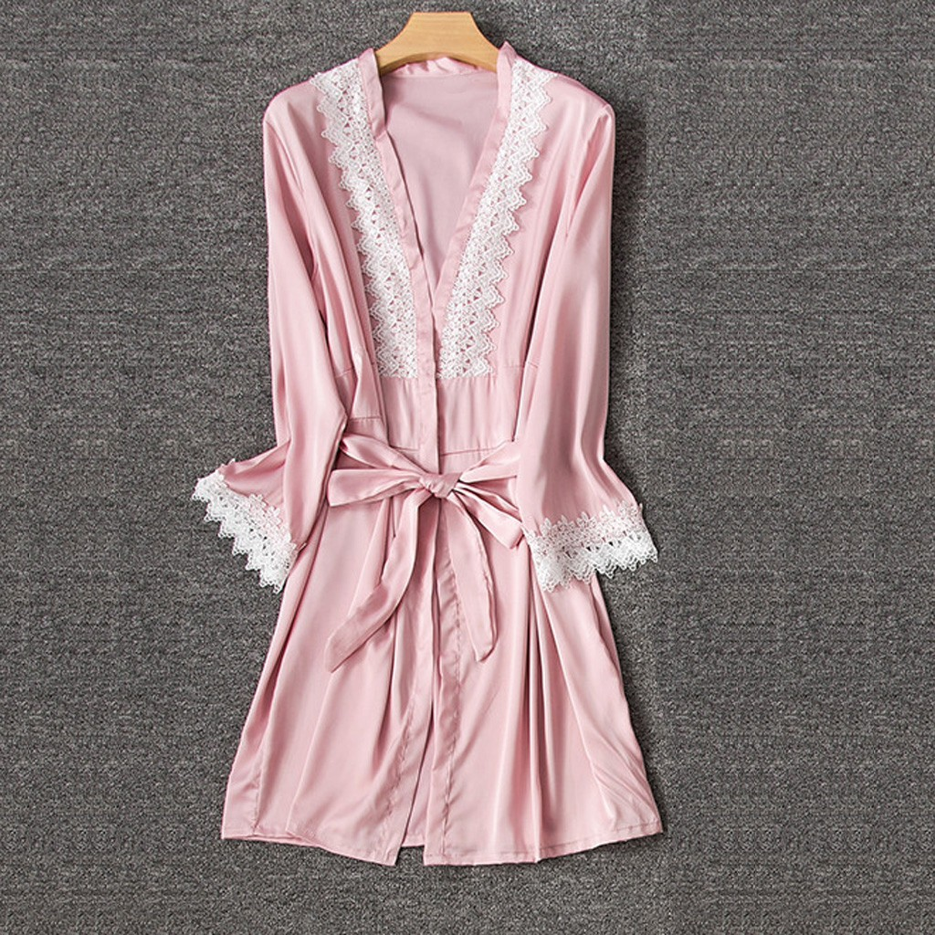 Sexy Lingerie Women Silk Lace Robe Long Sleeve Stain Bathrobe Sleepwear Pajamas Peignoir Femme Silk Robes For Women Bathrobe