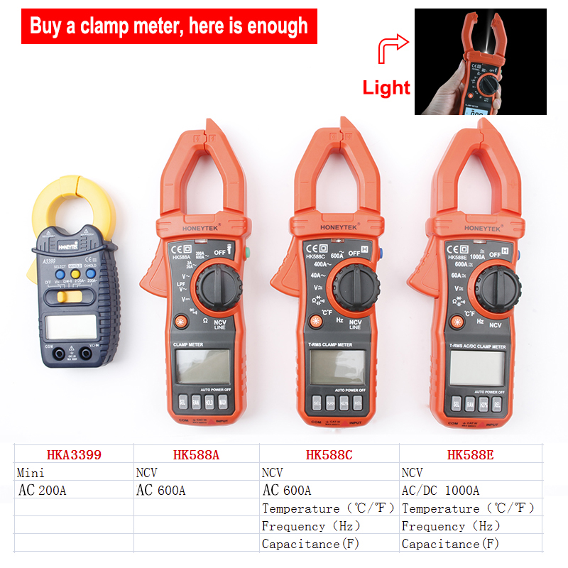 цена на Mini Digital Clamp Multimeter Meter Current AC/DC Voltage Resistance Capacitance Frequency Tester Detection free shipping
