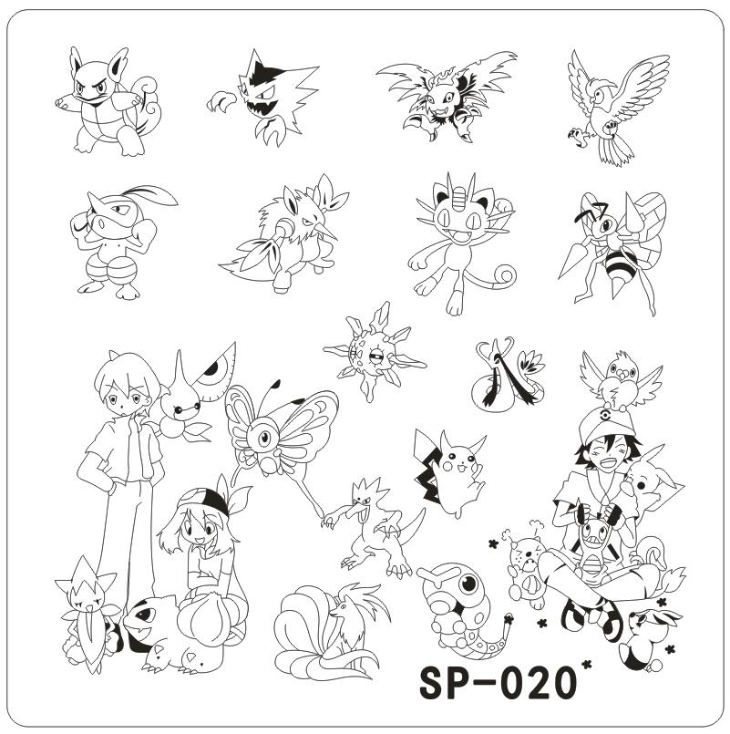 SP 020 Nail Art Template Cartoon Characters Stainless