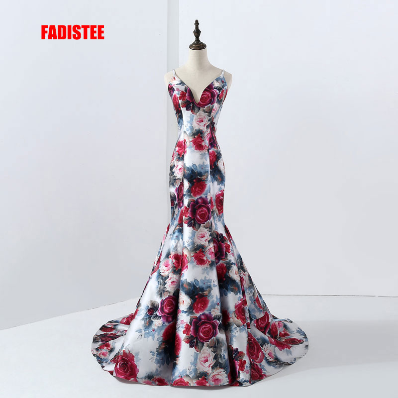 FADISTEE New Arrival Elegant Evening Party Dresses Vestido De Festa Gown Luxury Pattern Print Satin Robe De Soiree Prom Dress