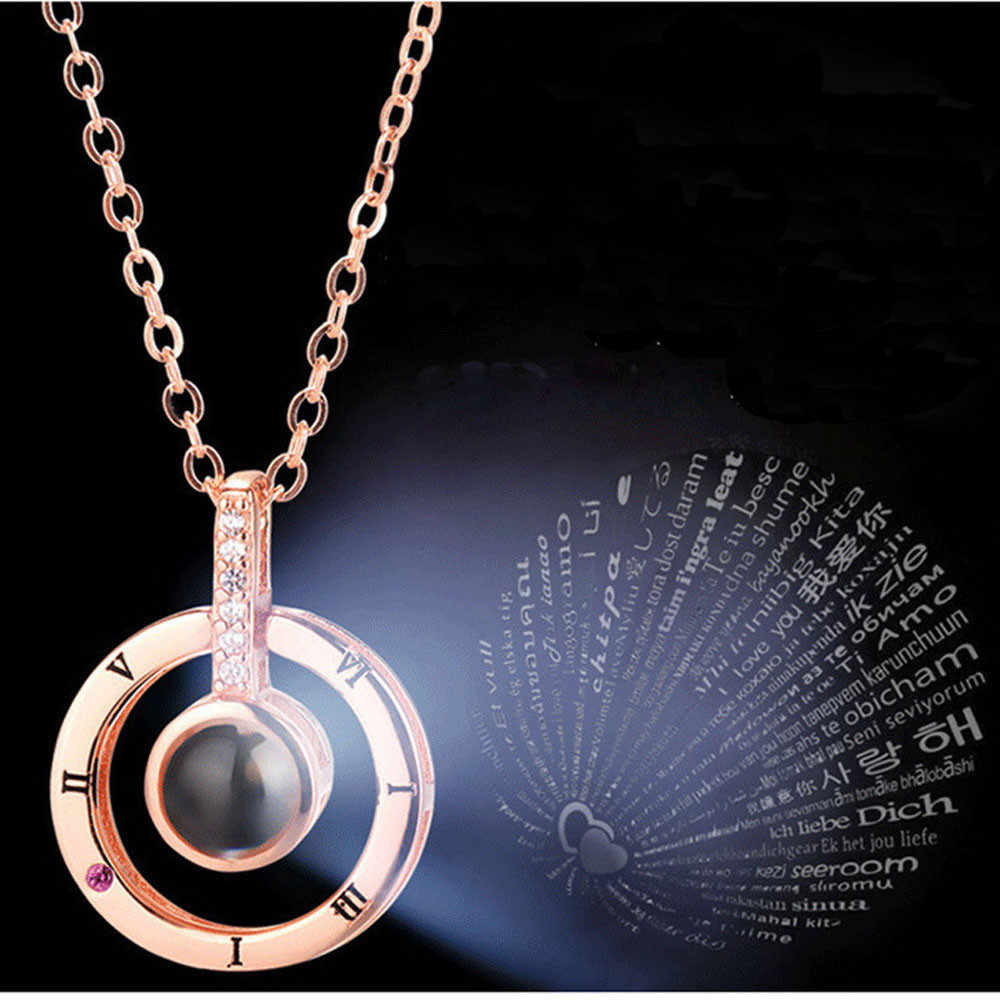 Round Shaped I LOVE YOU In 100 languages Projection Necklace For Memory Of LOVE Tik Tok