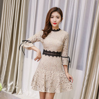 Women Summer 2018 Floral Dress Lady Sexy Bodycon O Neck Mini elegant party Flare Sleeve Lace Dresses