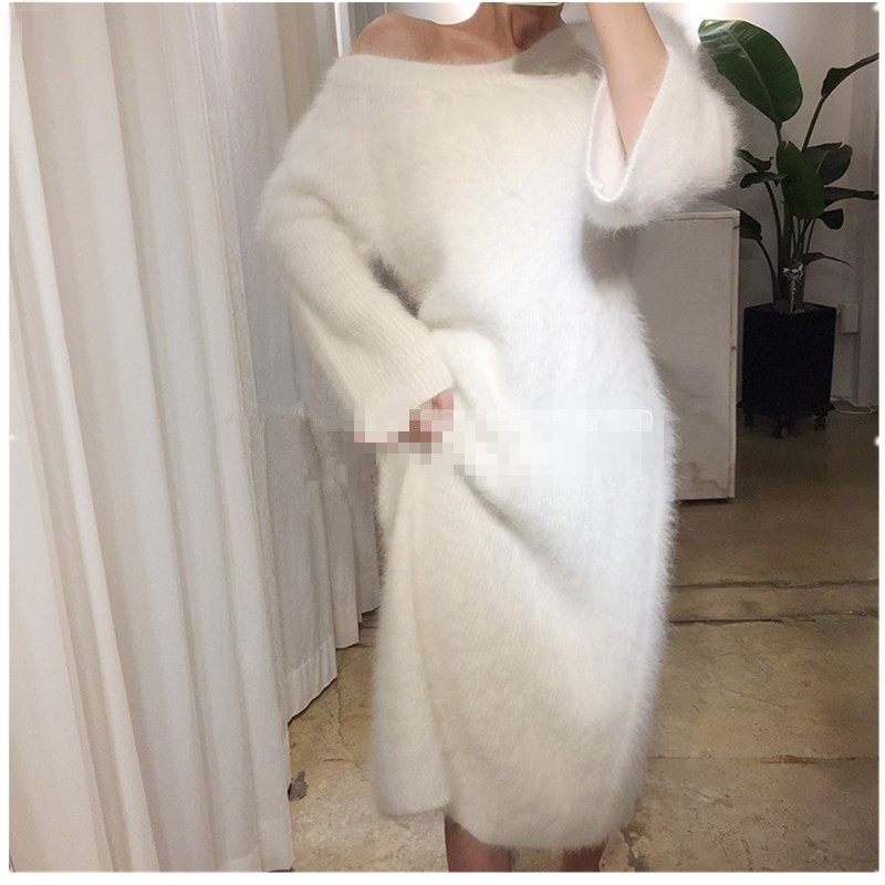 2019 New Women Fluffy Angola Mink Cashmere Pullovers Knitted Sweater Women s Dress Wholesale Custom Size