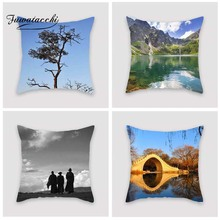 Fuwatacchi Scenic Style Cushion Cover Bridge Cloud Village Oceanside Printed Pillow Monk Decorative Pillows For Sofa Car