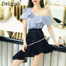 Delocah  Women Spring Summer Suits Runway Fashion Designer Sexy V-Neck One Shoulder Striped Printed +Beading Shorts Two