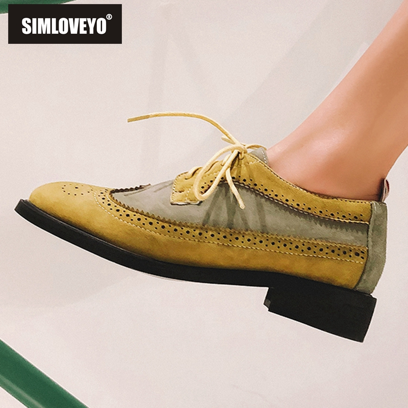 SIMLOVEYO New arrival Spring summer shoes woman flats Lace up Patchwork Lady flats PU Round toe Rubber Yellow Blue Cute Design