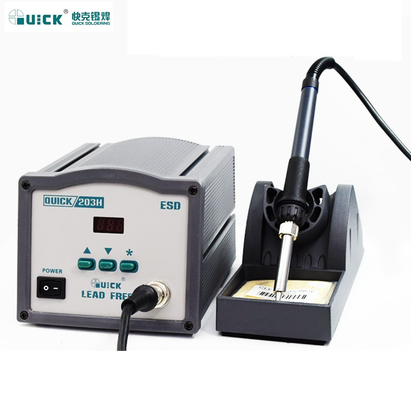 Original QUICK 203H 220V 90W  High Frequency Digital SMD Soldering Station Iron  Lead-free High-frequency Welding Station a bf 203h 220v 90w soldering station digital display soldering iron station diy auto sleep high frequency iron thermostat