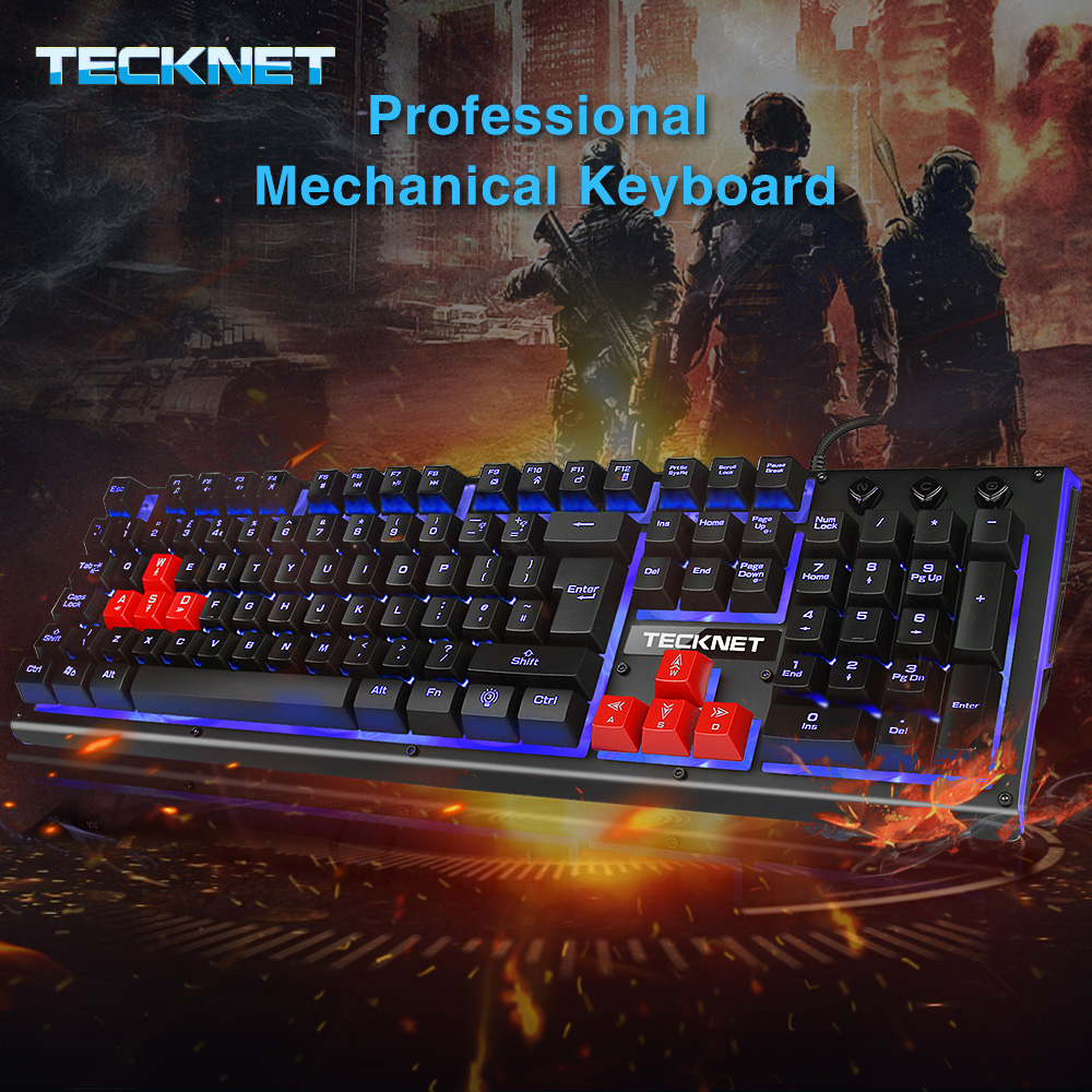 Mechanical Feeling Wired Multimedia PC Gaming Keyboard With 3 Colors LED Backlit