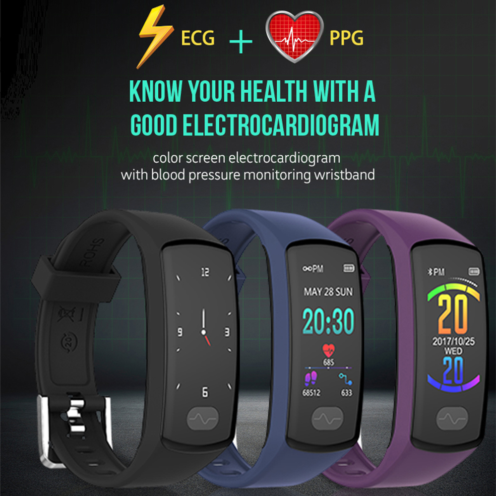 Smart Bracelet Heart Rate Monitor Fitness Tracker Smart Wristband ECG PPG Blood Pressure Smart Band Watch for IOS Android-in Smart Wristbands from Consumer Electronics    3