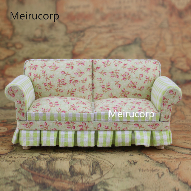 Doll House 1/12 Scale Miniature Furniture Petal Pattern Well Hand Fabric  Sofa