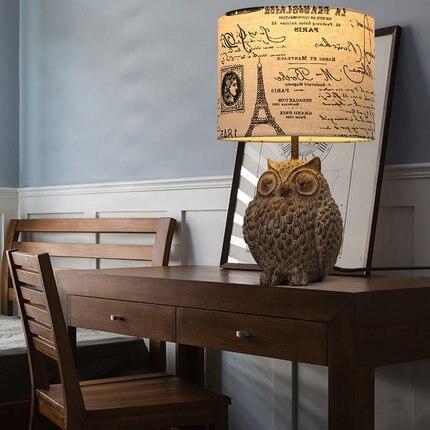 Abajur Para Quarto De Cabeceira Bedside Tables Creative Owl Desk Lamp For Baby Room Resin Fabric 110 240v