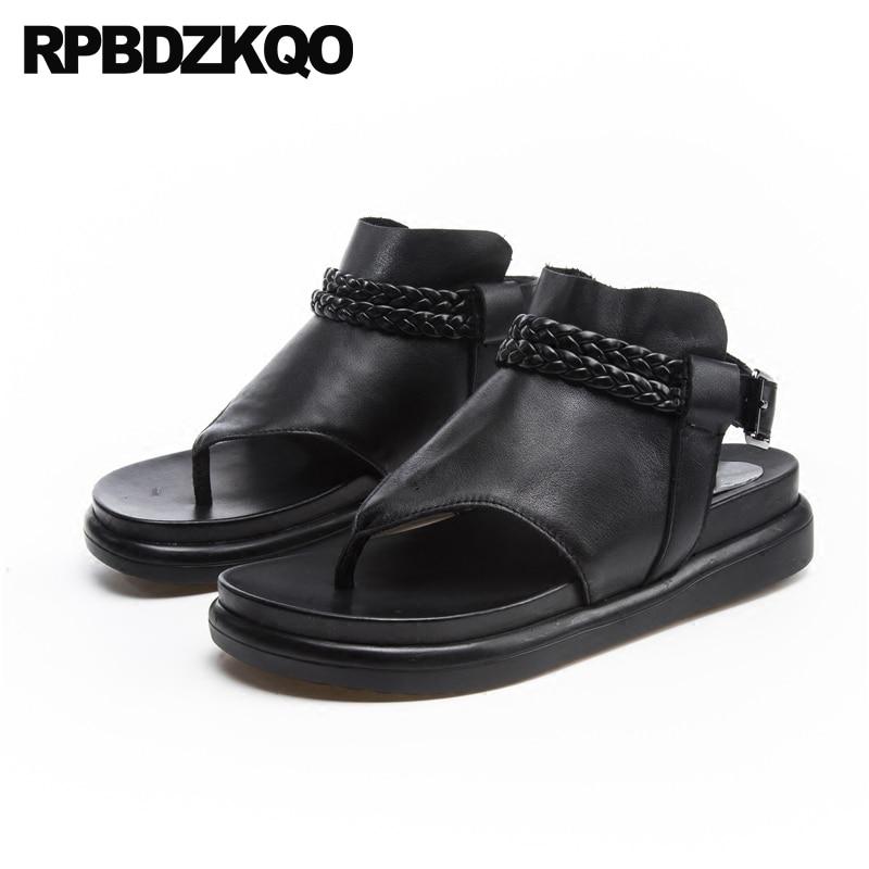 a9a14cbb4aa Platform Black Ladies Soft Flat Flatform Slingback Open Toe Summer Wide Fit  Sandals Designer Shoes Women Luxury 2018 Thong