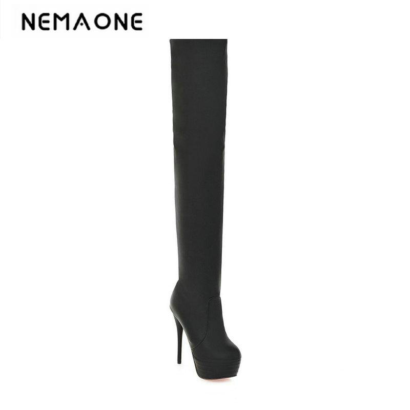 2018 Fashion Warm Thigh High Boots Brand Womens Sexy Thin High Heel Autumn Winter Boots Leisure Winter Shoes Women