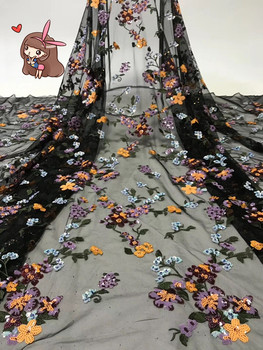 super quality SYJ-5224  beautiful flower lace fabric Newest Embroidered tulle mesh fabric with sequins