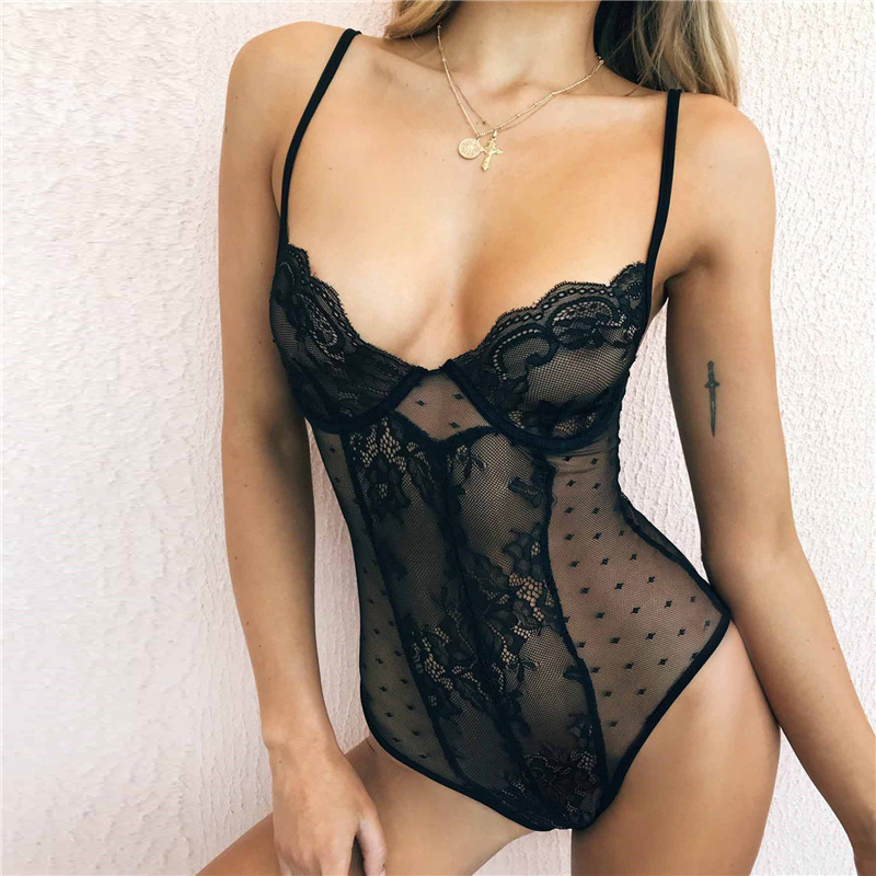 New Women Sexy Lace Bodysuits Deep V-neck Strapless See-through Lace Bodysuits B02JM523