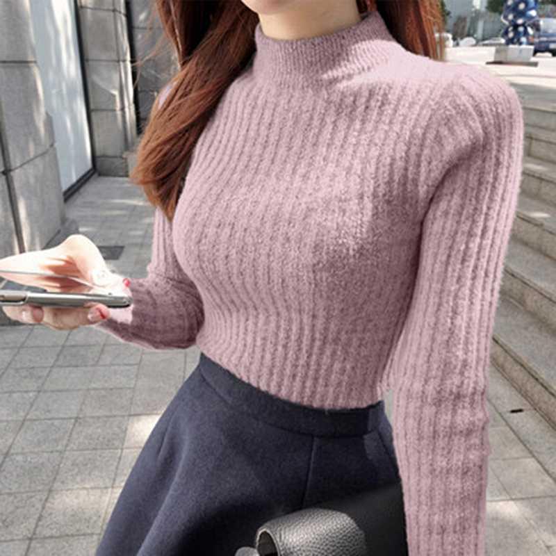 Новинка 2019, свитер, рубашка, водолазка с рукавами, свитер для девочки, теплый, зимний, тонкий, для женщин, полутолстый, половина, водолазка, для женщин