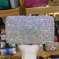 XIYUAN Luxury women AB crystal silver Evening Bags Clutch purse Wedding Party Handbag Rhinestone Diamond Ladies Evening bag prom