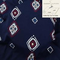 150cm Wide Abstract Grid Geometric Pattern Printed Pearl Chiffon Fabric Apparel Cloth Material Deep Blue
