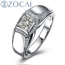ZOCAI BRAND NATURAL 0.65 CT CERTIFIED H / VVS DIAMOND MEN'S ENGAGEMENT WEDDING BAND RING 18K WHITE GOLD JEWELRY M00653