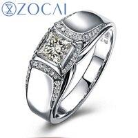 ZOCAI BRAND NATURAL 0.65 CT CERTIFIED H / VVS DIAMOND MEN'S ENGAGEMENT WEDDING BAND RING 18K WHITE GOLD JEWELRY M00653