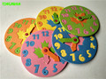 Happyxuan 1 unidades para niños diy eva reloj juguetes educativos de aprendizaje divertido juego de rompecabezas para niños 3-6 años de edad