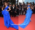 Sexy Sonam Kapoor Royal Blue Off Shoulder Asymmetrical Celebrity Dress Cannes Festival 2015 Evening Gowns Evening Dresses CD18
