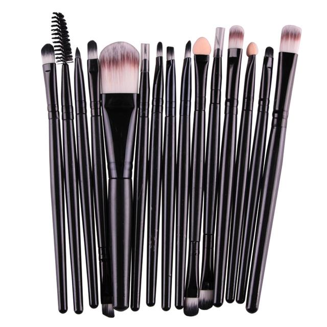 Best Makeup Brushes on a Budget 15Pcs/Kit for Eye Shadow Brow Eyeliner Eyelash Lip Foundation Cosmetic Power