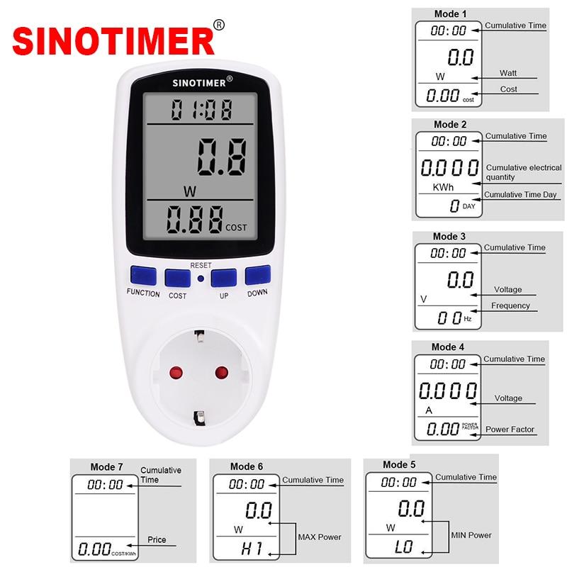 Enchufe de precio de fábrica medidor de energía voltaje amperios uso de electricidad Monitor toma de corriente de pared con pantalla LCD Digital grande
