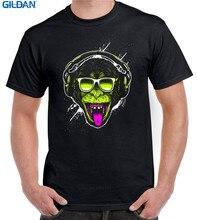 Loose  Crew Neck Men Short Sleeve Best Friend Funky Monkey Dj Shirts