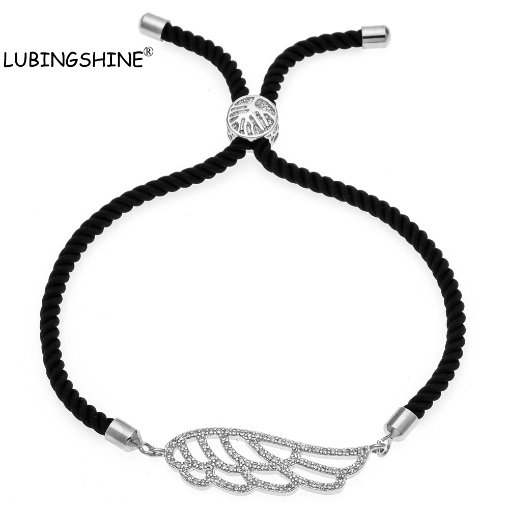 LUBINGSHINE 2018 Handmade Braided Rope Bracelets Angel Wings Charm Bracelets Bring You Lucky Courage Chain Bracelet JJAL B1354
