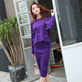 2017 Women's Fashion 2pcs Suits Winter Knitting Long-sleeved Sweet Pearls Sweater + Pencil Skirts 2pcs Long Skirt Sets