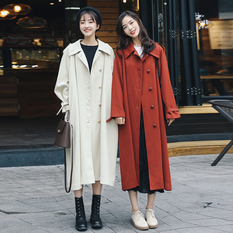 Fashion Spring Autumn New 2019 Long   Trench   coat Ladies Tide Korean Student Womens Windbreakers Coat Casual Loose Outerwear Women