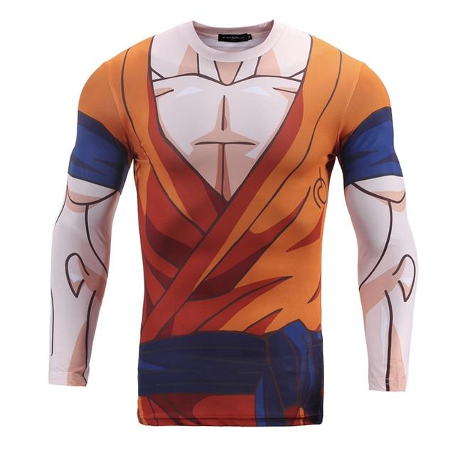 Brand Mens Clothing 3D Anime Dragon Ball T Shirt Character Vegeta/Cell /Android 17/Goku/Son Gohan Long Sleeve Tight Slim T-Shirt